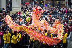 © Licensed to London News Pictures . 26/01/2020. Manchester, UK. The dragon dances in front of crowds in St Peter's Square . People celebrate Chinese New Year in Manchester with a display of oriental culture and a procession through the city centre . Photo credit: Joel Goodman/LNP