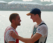 St Catherines, CANADA,  Men's Single Sculls, medals. left Silver medalist, SUI M1X. Xeno MULLER Gold medalist NZL M1X, Rob WADDELL ,  awards Dock.  1999 World Rowing Championships - Martindale Pond, Ontario. 08.1999..[Mandatory Credit; Peter Spurrier/Intersport-images]  .. 1999 FISA. World Rowing Championships, St Catherines, CANADA