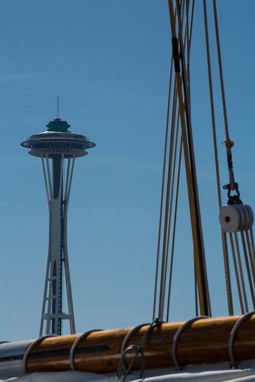 North America, United States, Washington, Seattle, Lake Union, Lake Union Park, Space Needle and Zodiac sailing schooner