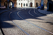 Tramway tracks at Malostranke Namesti. On March 1st, 2021 the state of emergency in the Czech Republic was reinstalled because of fast increasing numbers in infections. The lockdown was reinstated and the restriction of the free movement of people has taken effect. Currently, the country remains at the highest stage of the anti-epidemiological system and the newly imposed restriction will last at least three weeks to curb the epidemic.