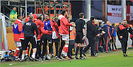Bristol City bench celebrate winning Luke Ayling goal during the Sky Bet Championship match between Bristol City and Middlesbrough at Ashton Gate, Bristol, England on 16 January 2016. Photo by Daniel Youngs.