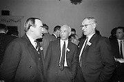 05/05/1965<br /> 05/05/1965<br /> 05 May 1965<br /> Thomas Heiton and Co. Ltd. Reception  to promote stainless steel in manufacturing at the Shelbourne Hotel, Dublin. Pictured at the reception were (l-r):  Mr. N.P. Bromiley, Director and Communication Manager, Samuel Fox Ltd.; Mr J. Hanna, Joint Managing Director and Divisional Manager (iron and steel) Thomas Heiton and Co. and Mr. E.S. Usher, Director and Manager (iron and steel) Thomas Heiton and Co.. Thomas Heiton and Co. were agents for steel produced by Samuel Fox and Co. Ltd., Sheffield, England.