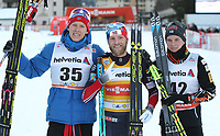 Langrenn , 10. desember 2016 , DAVOS,SWITZERLAND,10.DEC.16 - NORDIC SKIING, CROSS COUNTRY SKIING - FIS World Cup, 30km free-style, men.Image shows Anders Gløersen Martin Johnsrud Sundby (NOR) and Matti Heikkinen (FIN). <br /> <br /> Norway only