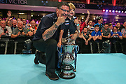 World Matchplay Champion 2018 Gary Anderson with his son during the BetVictor World Matchplay Darts 2018 final at Winter Gardens, Blackpool, United Kingdom on 29 July 2018. Picture by Shane Healey.