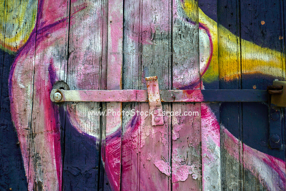Colourful Street art abstract of the female form. Photographed in Athens, Greece