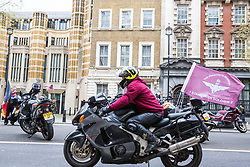 London, UK. 12th April 2019. Bikers in Whitehall attend the Rolling Thunder Ride for Soldier F organised by Harry Wragg and other armed forces veterans in support of the 77-year-old former soldier known as Soldier F who is to be prosecuted for the murders of James Wray and William McKinney at a civil rights march in Londonderry on Bloody Sunday in 1972.
