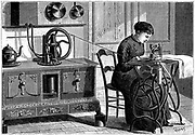 Daussin's steam motor, heated on the kitchen stove, being used to power a sewing machine.  Engraving published Paris, 1883