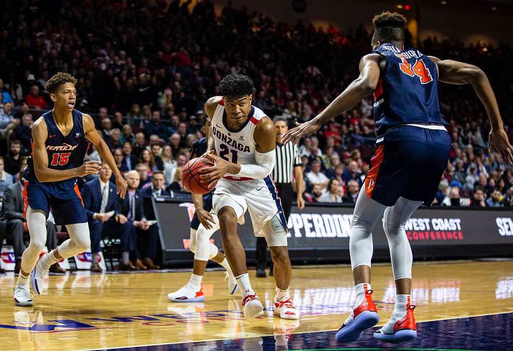 Mar 11 2019  Las Vegas, NV, U.S.A. Gonzaga  forward Rui Hachimura (21) drives to the basket during the NCAA  West Coast Conference Men's Basketball Tournament semi -final between the Pepperdine Wave and the Gonzaga Bulldogs 100-74 win at Orleans Arena Las Vegas, NV.  Thurman James / CSM