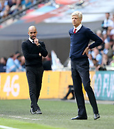 Manchester City's Pep Guardiola looks on dejected during the FA Cup Semi Final match at Wembley Stadium, London. Picture date: April 23rd, 2017. Pic credit should read: David Klein/Sportimage