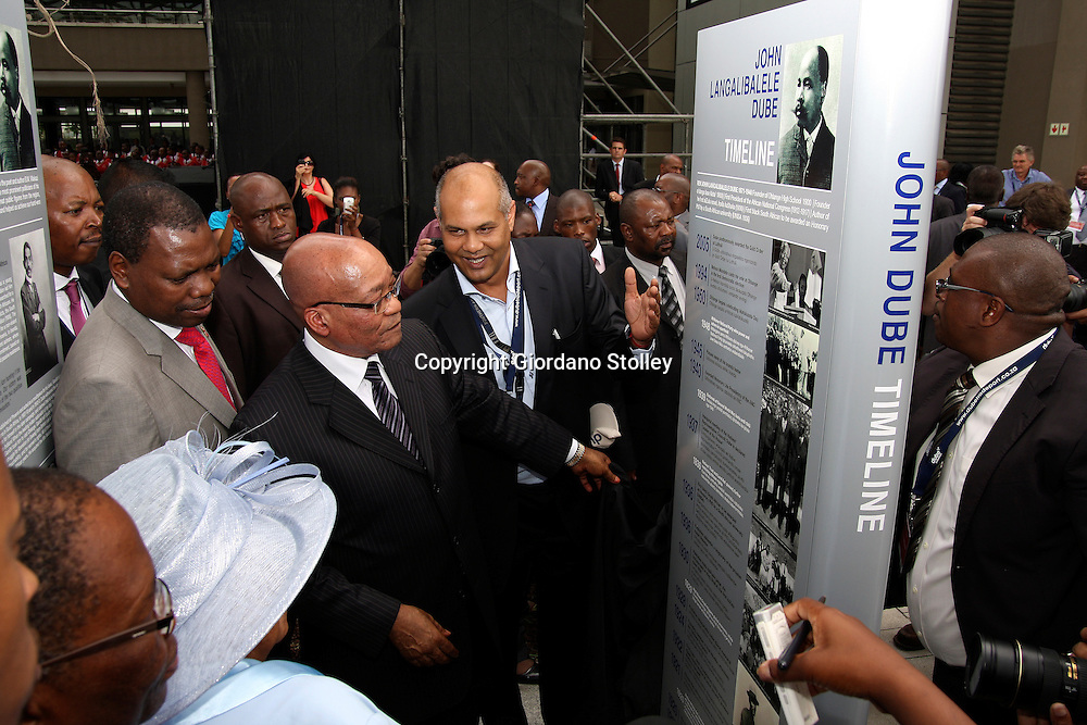 DURBAN - 8 March 2012 - President Jacob Zuma (centre) officially opens the Dube TradePort near Durban. Named after the founding ANC president John Dube, the facility, once completed will include King Shaka International Airport, a cargo terminal, warehousing, offices, a retail sector, hotels, and an agricultural area. Behind Zuma is KwaZulu-Natal Premier Zweli Mkhize and on his left Dube TradePort CEO Rohan Persad..Picture: Giordano Stolley/Allied PIcture Press/APP