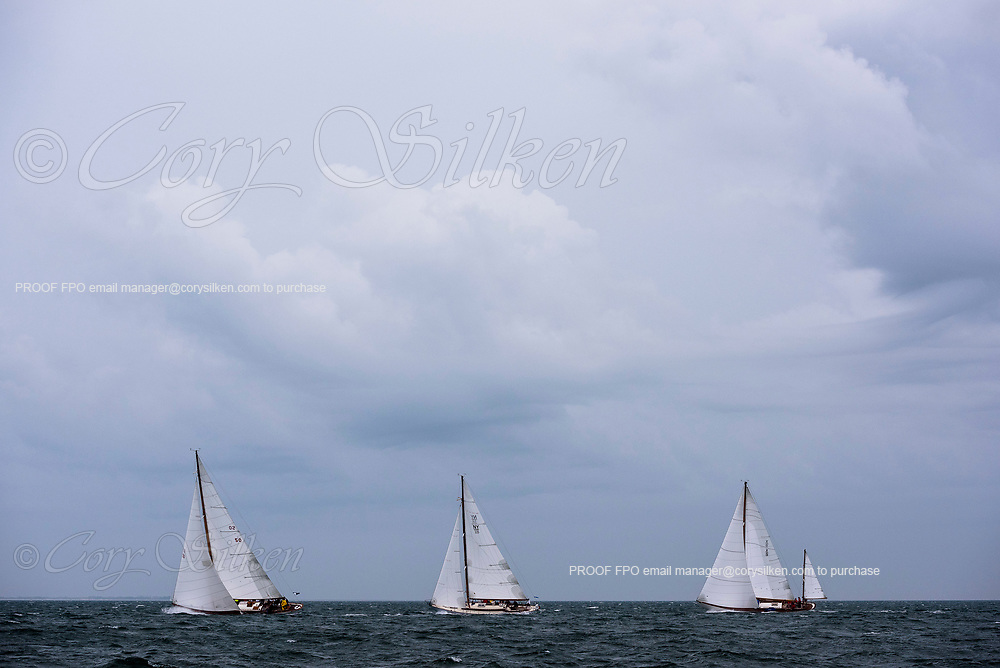Sonny, Gentian, and Santana racing in the Sail Nantucket Regatta, day one.