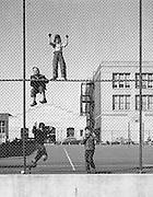 Four boys playing on a school yard fence, San Francisco