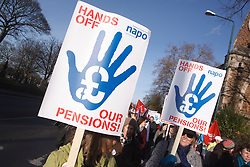 NAPO members with banners at demonstration against pension cuts, Nottingham 30th November 2011