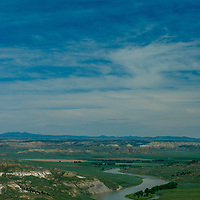 The Missouri River flows through the Upper Missouri River Breaks in central Montana.