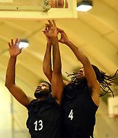Basketball<br /> BLNO<br /> Gamle Rykkinhallen<br /> Tromsø Storm v Nidaros Jets<br /> 11.10.2014<br /> Foto: Morten Olsen, Digitalsport<br /> <br /> Matthew Adekponya (4) - Nidaros<br /> Brandon Moore (13) - Nidaros