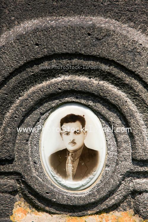 Tombstone in the cemetery, Haghpat Monastery, UNESCO World Cultural Heritage Site,  Lori Province, Armenia