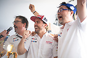 June 10-16, 2019: 24 hours of Le Mans. 8 Fernando Alonso, Toyota Gazoo Racing, TOYOTA TS050 - HYBRID , Rob Luepen, Toyota Team Director, Toshio Sato, Toyota TMG President