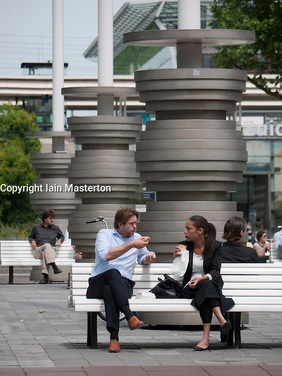 Office wokers at lunch  in modern business district at Amsterdam Zuid in The Netherlands