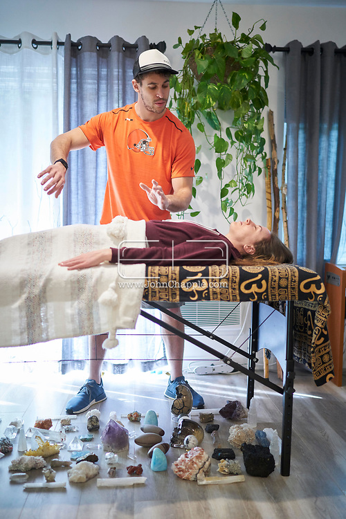 March 23, 2019. Hollywood, California. Former Stanford and Cleveland American Football player, Devon Cajuste who has turned to spiritual healing with crystals. Devon is pictured with his girlfriend, Nikki Papadakis.<br /> Photo copyright John Chapple / www.JohnChapple.com