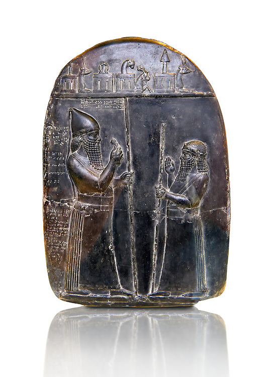 Babylonian stone relief sculpture. announcing a land deed of Adad-apla-iddina, 4th Dynasty king of Babylon from 1067 BC to 1046 BC . Copied from an original in the Pushkin Museum, Moscow. The Vorderasiatisches Museum, part of the Pergamon Museum, Berlin .<br /> <br /> If you prefer to buy from our ALAMY PHOTO LIBRARY  Collection visit : https://www.alamy.com/portfolio/paul-williams-funkystock/babylon-antiquities.html<br /> <br /> Visit our ANCIENT WORLD PHOTO COLLECTIONS for more photos to download or buy as wall art prints https://funkystock.photoshelter.com/gallery-collection/Ancient-World-Art-Antiquities-Historic-Sites-Pictures-Images-of/C00006u26yqSkDOM