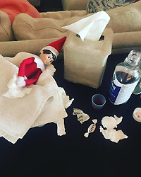 """Hilary Duff releases a photo on Twitter with the following caption: """"""""Jimmys been overworked this holiday season #getwellsoonjimjim #elfonashelf"""""""". Photo Credit: Twitter *** No USA Distribution *** For Editorial Use Only *** Not to be Published in Books or Photo Books ***  Please note: Fees charged by the agency are for the agency's services only, and do not, nor are they intended to, convey to the user any ownership of Copyright or License in the material. The agency does not claim any ownership including but not limited to Copyright or License in the attached material. By publishing this material you expressly agree to indemnify and to hold the agency and its directors, shareholders and employees harmless from any loss, claims, damages, demands, expenses (including legal fees), or any causes of action or allegation against the agency arising out of or connected in any way with publication of the material."""