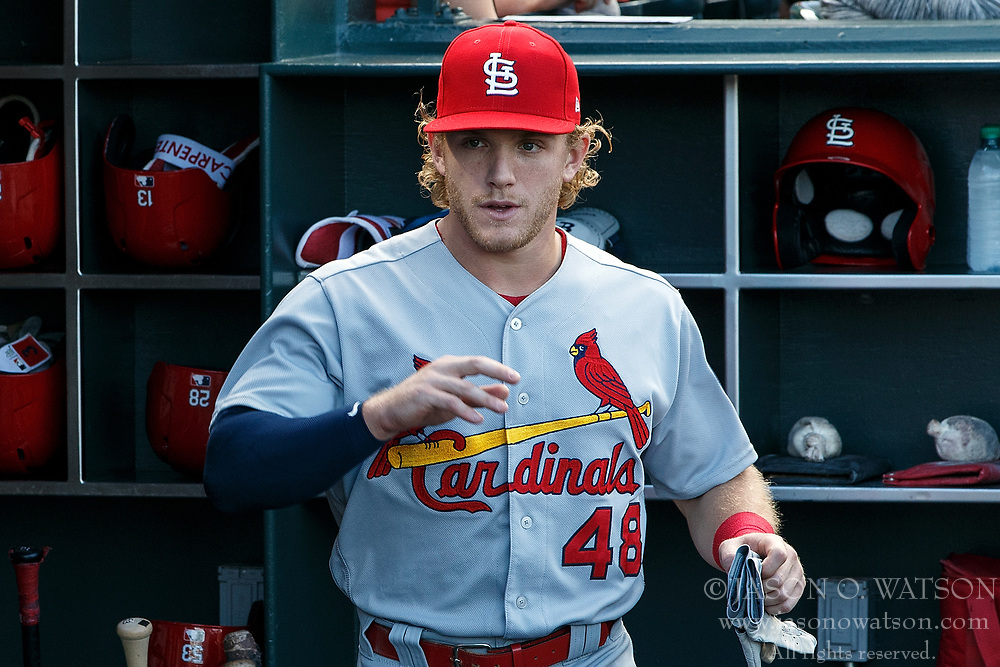 SAN FRANCISCO, CA - JULY 06: Harrison Bader #48 of the St. Louis Cardinals stands in the dugout before the game against the San Francisco Giants at AT&T Park on July 6, 2018 in San Francisco, California. The San Francisco Giants defeated the St. Louis Cardinals 3-2. (Photo by Jason O. Watson/Getty Images) *** Local Caption *** Harrison Bader