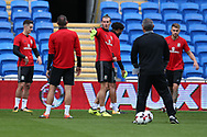 Gareth Bale of Wales (c) makes a point during the Wales football team training at the Cardiff city Stadium in Cardiff , South Wales on Friday 1st September 2017.  the team are preparing for their FIFA World Cup qualifier home to Austria tomorrow.  pic by Andrew Orchard, Andrew Orchard sports photography