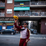 Italian tourists disguised as toreros playing rugby in the streets of the La Barceloneta neighbourhood. Let the party begin!