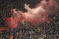 Football - 2018 / 2019 Premier League - Southampton vs. Liverpool<br /> <br /> Liverpool fans let off a flare after Mohamed Salah of Liverpool gives them the lead at St Mary's Stadium Southampton<br /> <br /> COLORSPORT/SHAUN BOGGUST