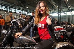 Expo model in the LowRide Custom Bike Show during Motor Bike Expo. Verona, Italy. January 23, 2016.  Photography ©2016 Michael Lichter.