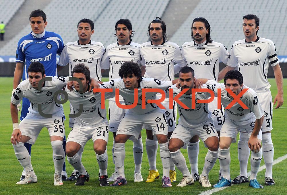 Altayspor's players (Left to Right) (Front side) Musa CAGIRAN, Mesut CAYTEMEL,Tiago Queiroz BEZERRA, Yuksel KAYAALP, Musa Sinan YILMAZER (Left to Right) (Back Side) goalkeeper Soner SAHIN, Mehmet BUDAK, Ercan UNAL, Sehmus OZER, Yigitcan ERDOGAN, Onur NASUHOGULLARI during their Play Off First leg match at Ataturk olympic Stadium in Istanbul Turkey on Monday, 17 May 2010. Photo by TURKPIX