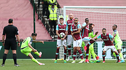 14 May 2017 - Premier League Football - West Ham United v Liverpool - A wall of West Ham players, (from l to r: Sam Byram, James Collins, Winston Reid and Edimilson Fernandes) deflect the free kick of Philippe Coutinho of Liverpool - Photo: Charlotte Wilson