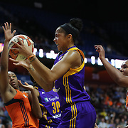 UNCASVILLE, CONNECTICUT- MAY 26:  Candace Parker #3 of the Los Angeles Sparks rebounds during the Los Angeles Sparks Vs Connecticut Sun, WNBA regular season game at Mohegan Sun Arena on May 26, 2016 in Uncasville, Connecticut. (Photo by Tim Clayton/Corbis via Getty Images)