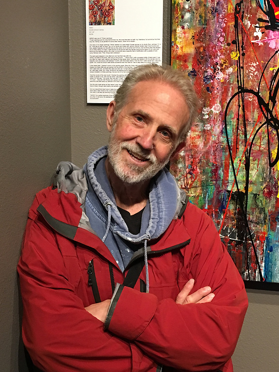 Exhausted after hanging 30 pieces for a one man exhibition at WICA (Whidbey Island Center for the Arts). Very Successful and a Great Opportunity for me. 2017.