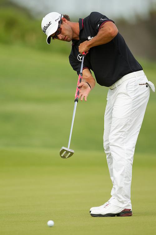 KIAWAH ISLAND, SC - AUGUST 12:  Adam Scott of Australia putts during the final round of the 2012 PGA Championship at The Ocean Course on Kiawah Island, South Carolina on August 12, 2012. (Photograph ©2012 Darren Carroll) *** Local Caption *** Adam Scott