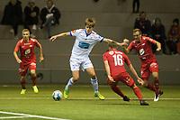 Fotball , <br /> 3. Mars 2019<br /> Treningskamp<br /> Brann . FK Haugesund <br /> Taijo Teniste (L) , Ruben Yttergård jenssen (2R) og Kristoffer Løkberg (R) , Brann <br /> Martin Samuelsen (3R) , Haugesund<br /> Foto: Astrid M. Nordhaug