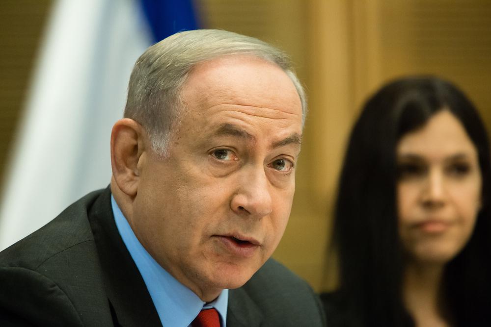 Israeli Prime Minister Benjamin Netanyahu, at the Knesset, Israel's parliament in Jerusalem, on April 19, 2017.