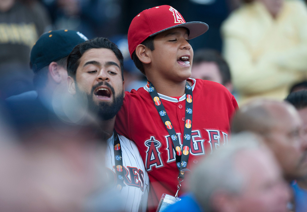 An Angel fan sings during the seventh inning stretch during the 2016 MLB All-Star Game at Petco Park in San Diego on Tuesday.<br /> <br /> ///ADDITIONAL INFO:   <br /> <br /> allstar.0713.kjs  ---  Photo by KEVIN SULLIVAN / Orange County Register  -- 7/12/16<br /> <br /> The 2016 MLB All-Star Game at Petco Park in San Diego.