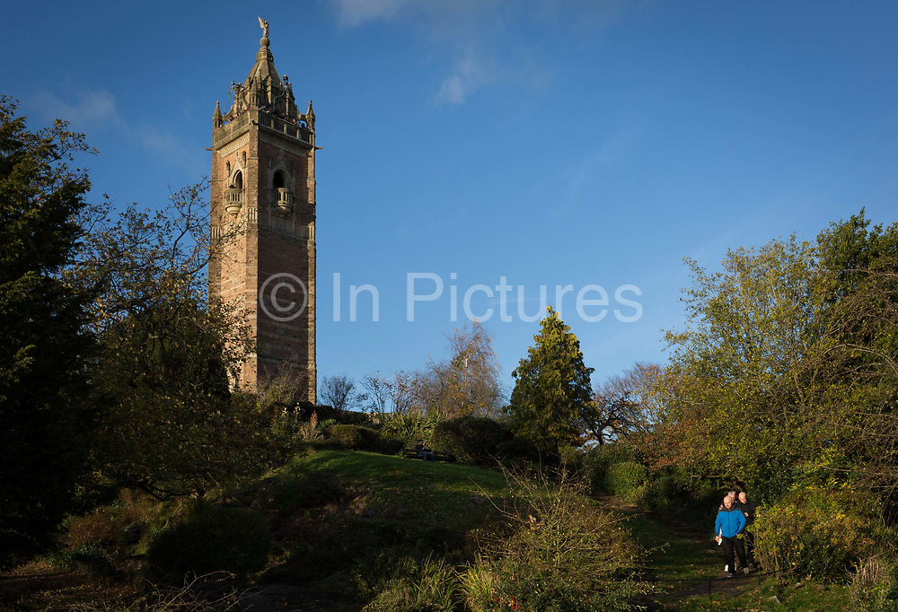 Cabot Tower and Bristolian park visitors, on 5th November 2017, on Brandon Hill, Bristol, England. Cabot Tower is a tower in Bristol, England, situated in a public park on Brandon Hill, between the city centre, Clifton and Hotwells. It is a grade II listed building. The tower was built in the 1890s to commemorate the 400th anniversary of the journey of John Cabot from Bristol to land which later became Canada.