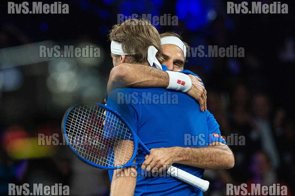 GENEVA, SWITZERLAND - SEPTEMBER 20: Roger Federer of Team Europe celebrates the win in doubles with Alexander Zverev of Team Europe during Day 1 of the Laver Cup 2019 at Palexpo on September 20, 2019 in Geneva, Switzerland. The Laver Cup will see six players from the rest of the World competing against their counterparts from Europe. Team World is captained by John McEnroe and Team Europe is captained by Bjorn Borg. The tournament runs from September 20-22. (Photo by Robert Hradil/RvS.Media)