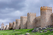 Famous old town of Avila medieval city walls and extra-mural church, UNESCO World Heritage Site, Spain