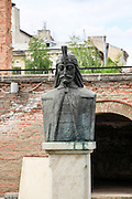Vlad Tepes (Vlad the Impaler) bust at Old Princely Court, Historic Quarter, Bucharest, Romania