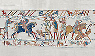 Bayeux Tapestry scene 57: King Harold is killed by an arrow in his eye as he looses the Battle of Hastings.  BYX57 .<br /> <br /> If you prefer you can also buy from our ALAMY PHOTO LIBRARY  Collection visit : https://www.alamy.com/portfolio/paul-williams-funkystock/bayeux-tapestry-medieval-art.html  if you know the scene number you want enter BXY followed bt the scene no into the SEARCH WITHIN GALLERY box  i.e BYX 22 for scene 22)<br /> <br />  Visit our MEDIEVAL ART PHOTO COLLECTIONS for more   photos  to download or buy as prints https://funkystock.photoshelter.com/gallery-collection/Medieval-Middle-Ages-Art-Artefacts-Antiquities-Pictures-Images-of/C0000YpKXiAHnG2k