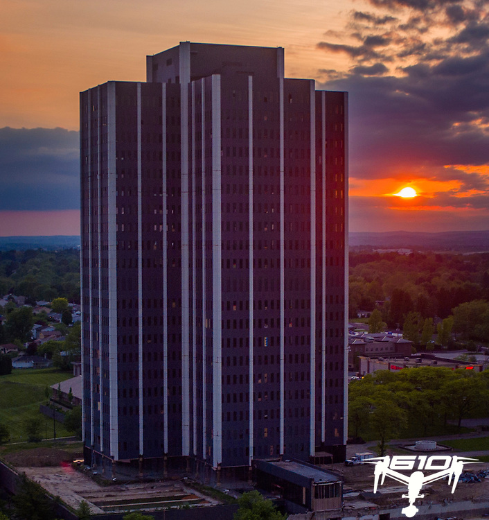 Former Bethlehem Steel Corp. world headquarters building, Martin Tower stands for the final sunset before the building was demolished by implosion on May 19, 2019