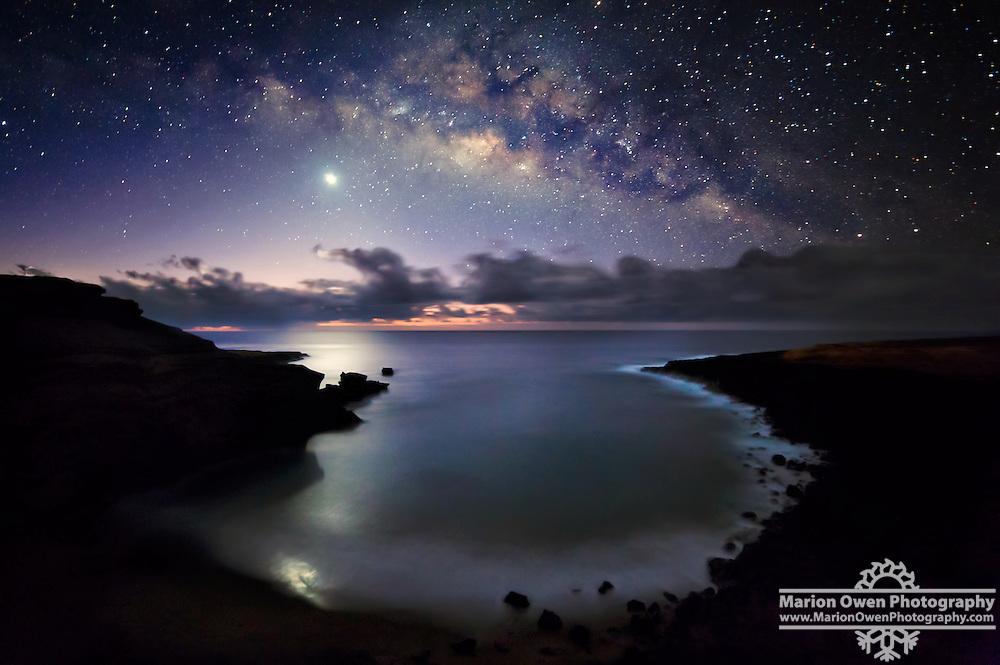 Milky Way Over Venus, Papakolea Beach, Hawaii