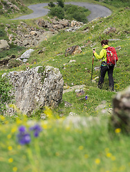 Woman hiking in the High Pyrenees on small path near Cirque de Troumouse, France