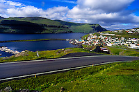 Faroe Islands. Eidi village on Eysturoy.