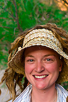 River guide Amanda LaRiche at Blacktail Canyon campsite, Whitewater rafting trip (oar trip) on the Colorado River in Grand Canyon, Grand Canyon National Park, Arizona USA