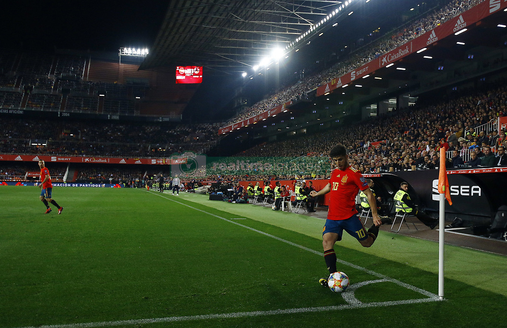 March 23, 2019 - Valencia, Community of Valencia, Spain - Spain's Marco Asensio seen in action during the Qualifiers - Group B to Euro 2020 football match between Spain and Norway in Valencia, Spain. Spain beat Norway, 2-1 (Credit Image: © Manu Reino/SOPA Images via ZUMA Wire)