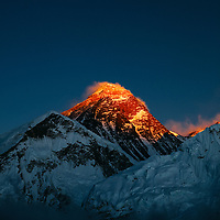 Mount Everest , Nepal - ice and snow on the mountains of the Everest Range form Kala Patar -